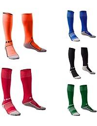 Yeshi Unisex niños calcetines transpirable compresión elástico Fútbol Fútbol Deportes Calcetines Largos, negro