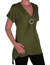 EyeCatch Plus - Solange Frauen Asymmetrische Stretch Kurzarm Diamante Damen mit V-Ausschnitt Top Größen 42 - 56