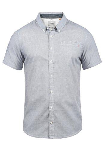 Blend Fillus Herren Kurzarmhemd Herrenhemd Hemd Mit Button-Down-Kragen Aus 100% Baumwolle, Größe:L, Farbe:Mood Indigo (74648)
