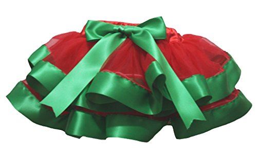 Petitebelle Dress Red 4 Layer Green Ribbon Girl Petal Skirt Nb-8y (4-5 Jahr) (Kelly-grün-chiffon-kleid)