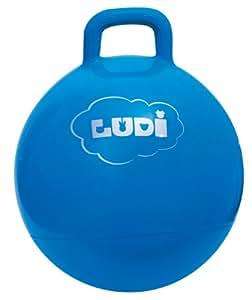 LUDI - Ballon sauteur bleu d'extérieur. Dès 3 ans. Diamètre : 45 cm. Plastique PVC épais et résistant qui assure une grande solidité. Développe la motricité. Poignée facile a agripper - 2781