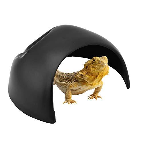 Pssopp Reptilienhöhle Höhlenversteck Reptile Shelter Höhle für Terrarientiere, Reptil Schildkröte Haus Habitat Ornament für Eidechse Schlange Schildkröte Spinne Amphibien (schwarz)