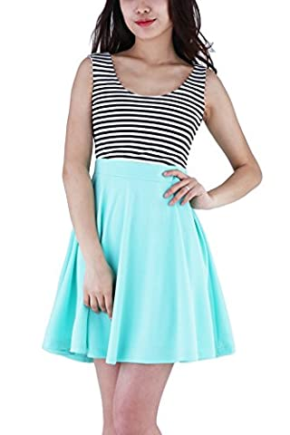 WIWIQS Womens Sexy Open Back Cocktail Slim Sky Blue White Striped Mini Dress Sky Blue L