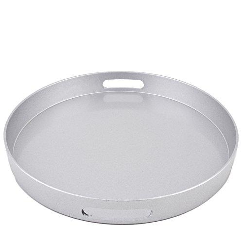 Tablett rund Metallic Xmas Design Kunststoff 4x33x33cm Schale (Silber) (Kunststoff-silber Tablett)