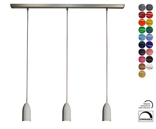 Eleganz trifft Moderne - 3-fach Beton Hängelampe mit Textilkabel in Bordeaux von Buchenbusch urban design | Pendelleuchte LED Lampen Deckenleuchte Betonlampe Hängeleuchte Deckenlampe Esstischlampe
