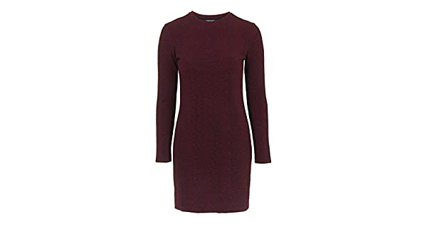 Topshop Sexy Retro Hippy Thick Textured Fitted Bodycon Mini Dress Burgundy Red (UK 12, US 8): Amazon.co.uk: Clothing