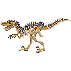 3D Velociraptor madera dinosaurio prehistórico Jigsaw Puzzle Kit Craft Modelado