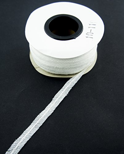 Hand® 10-110 weiß einseitig Stoff schmelzbare Bias Tape mit mittleren Nähten - 100 Yards (91,4 m) lange X 10 mm breit