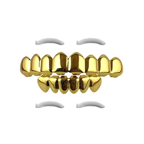Pan Gold Kostüm - Lazzboy Halloween Teeth Grills Requisiten 8 vergoldete Hosenträger Gold / Silber / Schwarz / Roségold(Gold)