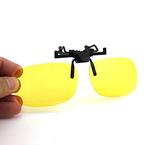 Damen UV400 Vision pflegen Clip-on aufklappbaren Sonnenbrillen Polarisation Brille-Linsen(Gelb)