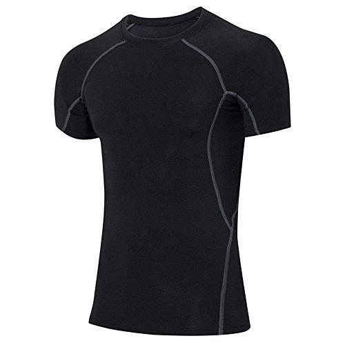 ts Wear Ringerrücken MTB T-Shirt Männer Kompression Kompression Base Layer Shirt Short Sleeve Rundhalsausschnitt Fitness Top 1018 ()
