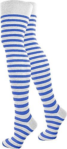 Top modische Damen Overknees in verschiedenen Designs / Baumwolle mit Elasthan in verschiedenen Farben zur Auswahl Farbe Weiß/Blau/Schmal Größe (Kostüm Blaue Weiße Und Cheerleader)