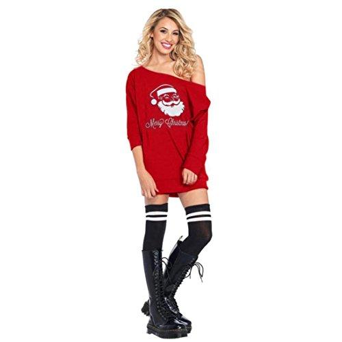 Christmas Weihnachtsmann Drucken Schulterfrei Minikleid Damen Pullover Bluse Tops Weihnachten Frauen Hemd Rundhals Sweatshirts Hemden Pulli Blusen Kapuzenpullis Outerwear Elecenty (Rot, S)