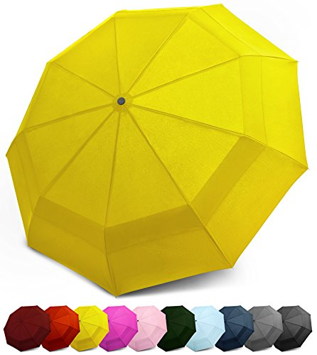 EEZ-Y Kompakter Reise-Taschenschirm mit windfester Konstruktion und doppeltem Dach - Auf-Zu-Automatik für Einhandbedienung - Stabil und leicht (Gelb) - Schwenk-ecke