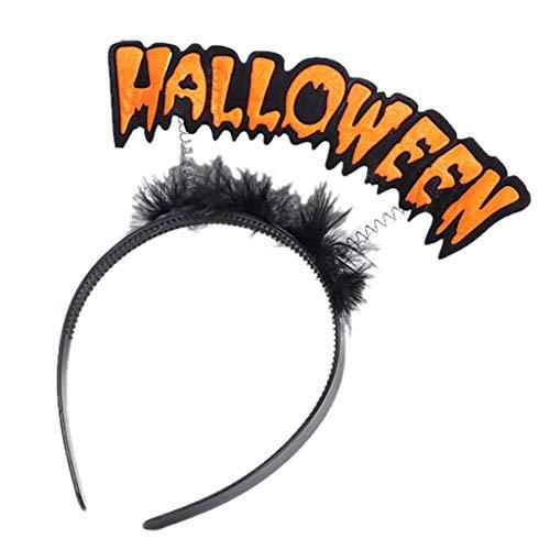 Runrain Frauen Kinder Halloween Stirnband Frühling Kürbis Bat Buchstaben Haar Hoop Party Kostüm (C)