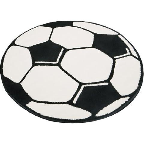 Hanse Home 100015 - Alfombra con forma redonda (150 cm), diseño de balón de fútbol, color blanco y negro