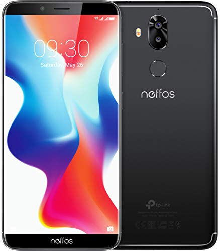 TP-Link Neffos X9 Dual Kamera FullView-Smartphone ohne Vertrag, 5,99 Zoll HD+ Display (15,21 cm), 32GB , Dual SIM, Fingerabdruck, Gesichtserkennung, 13MP Kamera, Android 8.1 (NFUI), space black