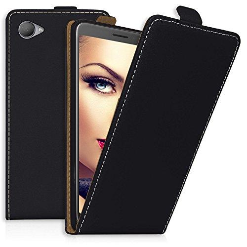 mtb more energy Flip-Case Tasche für HTC Desire 12 (5.5'') | Schwarz | Kunstleder | Schutz-Tasche Cover Hülle