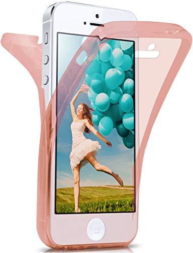 moex® Beidseitige Silikonhülle [Vorder + Rückseite] passend für iPhone 5S / 5 / iPhone SE   360 Grad Cover mit Komplett-Schutz - durchsichtig, Rosa - 5 Rosa Iphone Cover