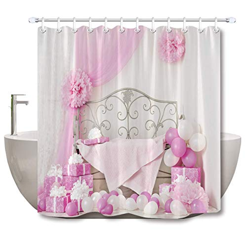 ZHOU Cartoon Shower Cortina de Halloween casa Con Estampado de Tela de poliéster baño cortinas impermeable Anti-molde baño decoración hogar accesorios Con 12 ganchos de Cortina 180x200cm