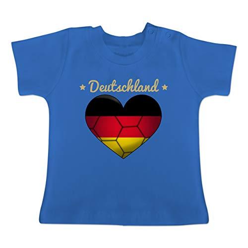 Handball WM 2019 Baby - Handballherz Deutschland - 12-18 Monate - Royalblau - BZ02 - Baby T-Shirt Kurzarm