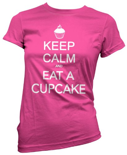 HotScamp Premium Keep Calm And Eat A Cupcake maglietta da donna rosa ragazza Pink (Cupcake Donne Pink T-shirt)