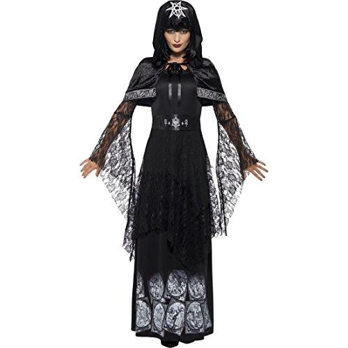 Amakando Voodoo Priesterin Outfit - XL (46/48) - Schwarze Zauberin Kostüm böse Fee Verkleidung Okkultes Hexenkostüm Damen Gothic Hexe Halloween Schwarze Zauberin Kostüm