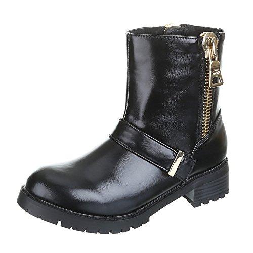 Damen Schuhe, ADRIA, BOOTS Schwarz Gold CILLA