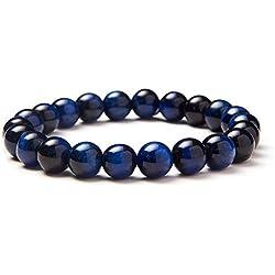 Sunnyclue Naturel véritable pierres précieuses Bleu œil de tigre Hawk Eye Bracelet stretch Perles rondes 8 mm environ 17,8 cm Unisexe
