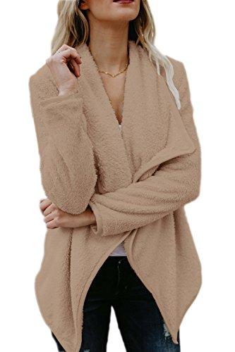 Le Donne Inverno Elegante Casual Aperta Davanti Spessa Impermeabile Indumenti Esterni Khaki
