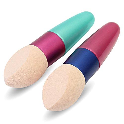 2 x Pinceaux Brosse Eponge Poudre Retouches Visage Fard Maquillage Cosmétique