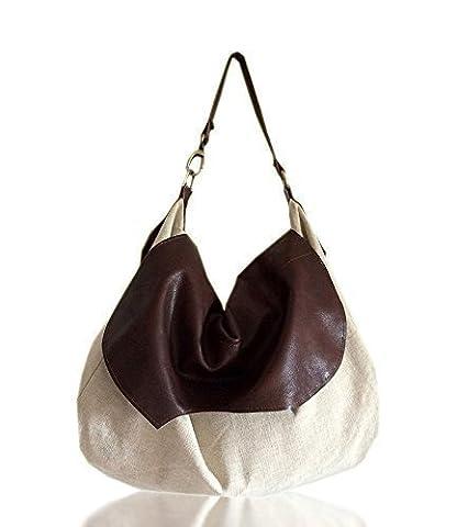Sac de mode pour le voyage en cuir et mélange de tissus de coton et de lin, limited edition BBagdesign.