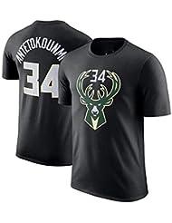 Camiseta De La NBA Para Hombre Milwaukee Bucks Giannis Antetokounmpo # 34 Baloncesto De Manga Corta