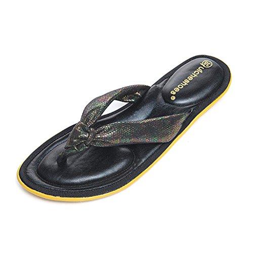 PENGFEI sandali delle donne Pantofole estive Sandali flip flops sabbia femmina Sandali semplici semplici di lavoro femminili Nero, oro, verde e giallo Confortevole e traspirante ( Colore : Verde , dim Nero