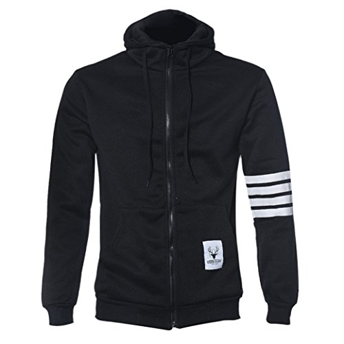 Malloom Moda Hombre sudaderas con capucha de marca de deportes cremallera Chaqueta Abrigos Outwear (negro,