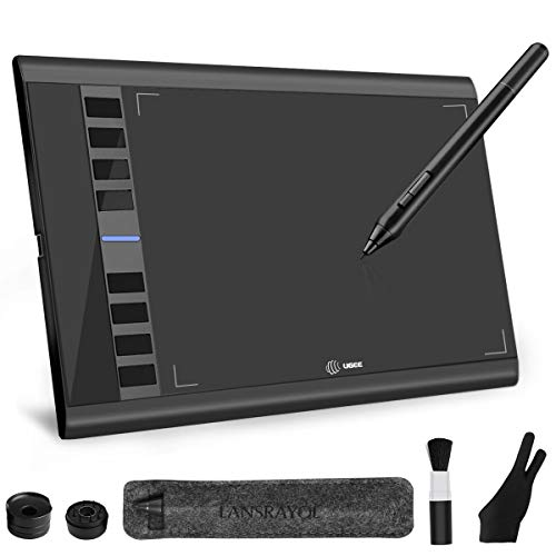 LANSRAYOL Zeichentablett Ugee Grafiktablett 10x6 Zoll Digitalisiertablett Kabellos Batterielos Stift 5080 LPI 266 RPS 8192 Stufen 8 Expresstasten Mac Windows mit Stifttasche Handschuh Windows Xp Tablet Pc
