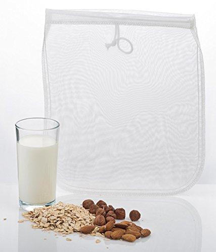 Nussmilchbeutel für vegane Nussmilch Herstellung / Passiertuch / Durchseih Beutel zum auspressen von Obst und Gemüse / vielseitige Anwendungsmöglichkeiten siehe Beschreibung / 100% Nylon / inkl. Rezept für Mandelmilch (Soja-milch Maker)