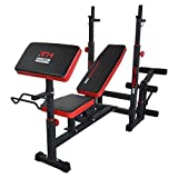 TrainHard Multifunktion Hantelbank Trainingsbank Kraftstation mit Curlhantelset 25KG