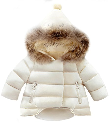 SMITHROAD Winter Mantel Winterjacke Mädchen Jung Neugeborenes kleikind babay Oberbekleidung verdickte mit Kapuze Pelzkragen Outerwear Steppjacke warm Winddicht