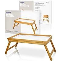 Lumaland Betttablett Tablett aus Bambus mit weißem Boden und herausklappbaren Füßen, ca. 50 x 31 x 23 cm