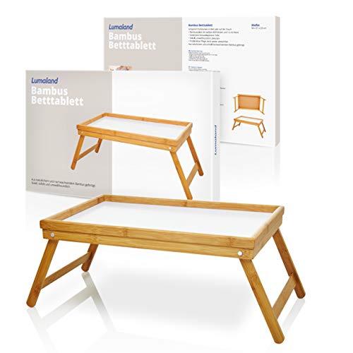 Vassoio per colazione a letto in bambù con gambe pieghevoli e base bianca 50x31x23cm