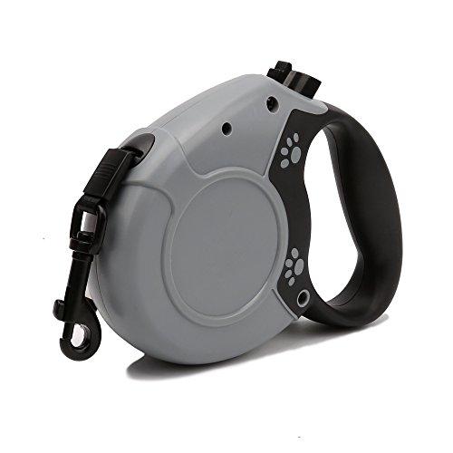 Automatisch Retractable Hundeleine Seil Nylon Einfache Ein-Knopf-Bremse Und Schloss LED-Licht 4M Bis Zu 80 £ Für Große, Mittlere Und Kleine Hunde,Gray (Führen Lange Flexi)