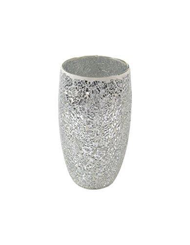 Glas-Vase Mosaik silber/hellgrau 14 x 25cm