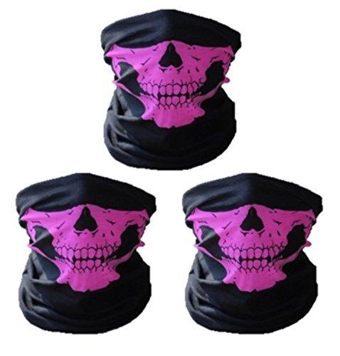 tionstuch | Sturmmaske | Bandana | Schlauchtuch | Halstuch mit Totenkopf- Skelettmasken für Motorrad Fahrrad Ski Paintball Gamer Karneval Kostüm Skull Maske ... (3 rosa) ()