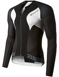 Skins Hombres Jersey De Ciclo manga larga Tremola, hombre, negro/blanco, small