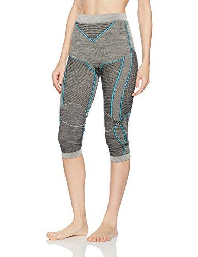 X-Bionic Damen Apani Merino BY Fastflow Lady UW Pants Medium Unterwäsche, Black/Grey/Turquoise, S/M (Thermo-unterwäsche Polypropylen)