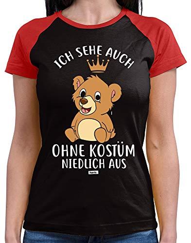 HARIZ  Damen Baseball Shirt Ich Sehe Auch Ohne Kostüm Niedlich Aus Bär Karneval Verkleidung Plus Geschenkkarte Black/Red S