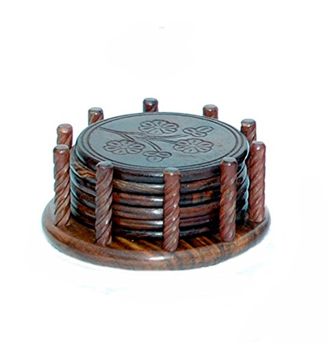 Wooden Round Rod Miniature Tea Cups Coffee Mugs Beer Cans Bar Tumblers and Water Glasses Coaster Set Of 6 Handmade Gift Item For Home Table Decor Showpiece  available at amazon for Rs.379