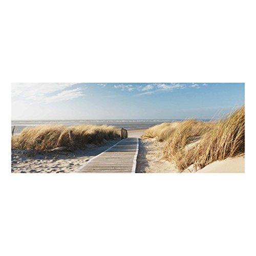 Bilderwelten Top Maritim Glasbilder Wandbild Foto Kunstdruck 40 x 100 cm, Ostsee Strand