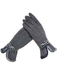 Demarkt 1 Paire Femme Gants Chauffants d'hiver Charme Papillon Coton Plein-Doigt Gants à écran Tactile avec pour Filles Ski Vélo Equitation Randonnée Sports Coupe-vent Gloves Gris